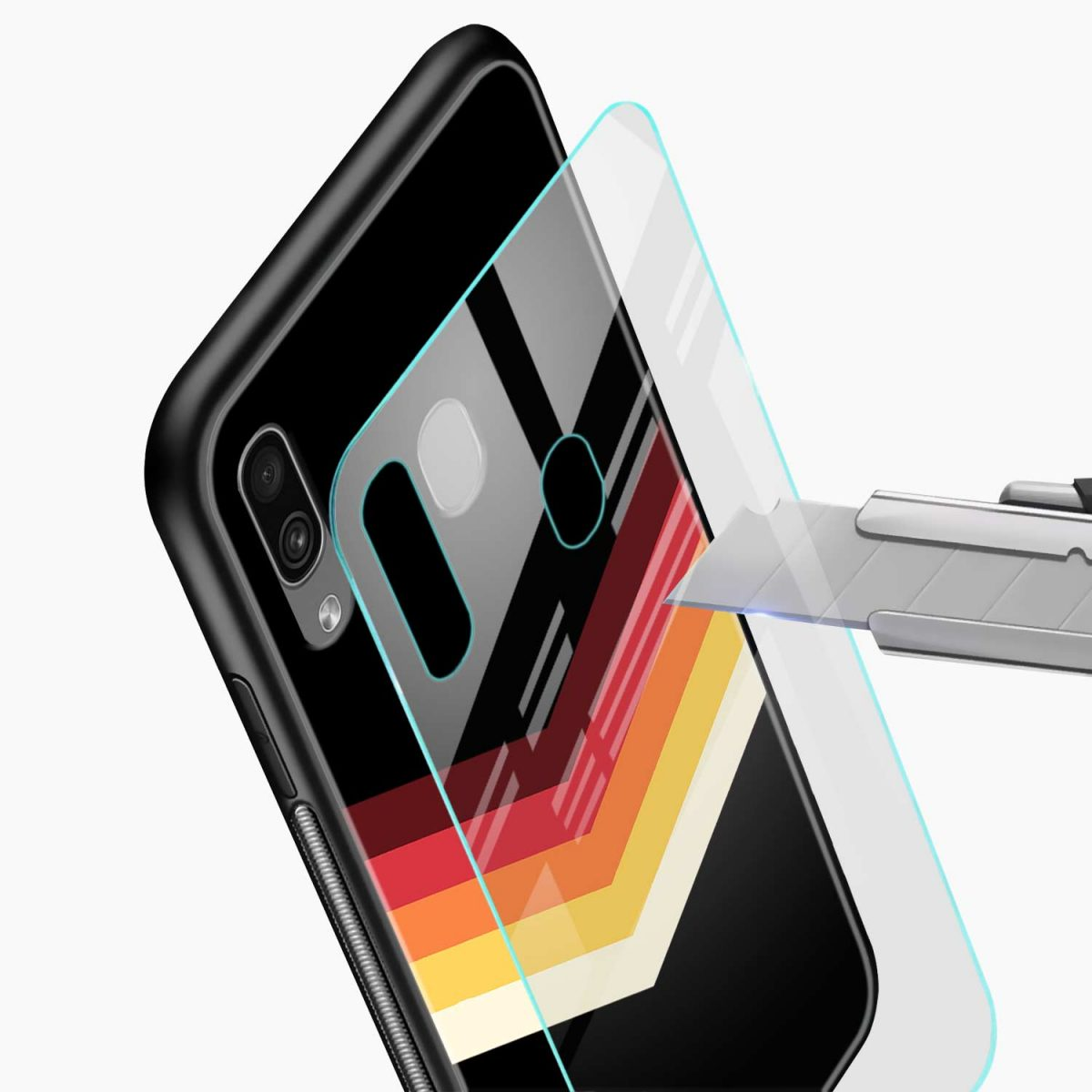 rewind strips pattern glass view samsung galaxy a30 back cover