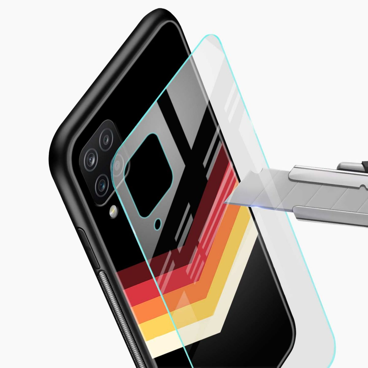 rewind strips pattern glass view samsung galaxy a12 back cover