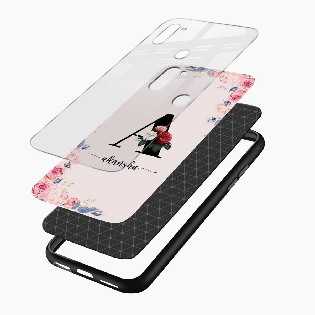 floral name personalised layers view samsung galaxy m11 back cover