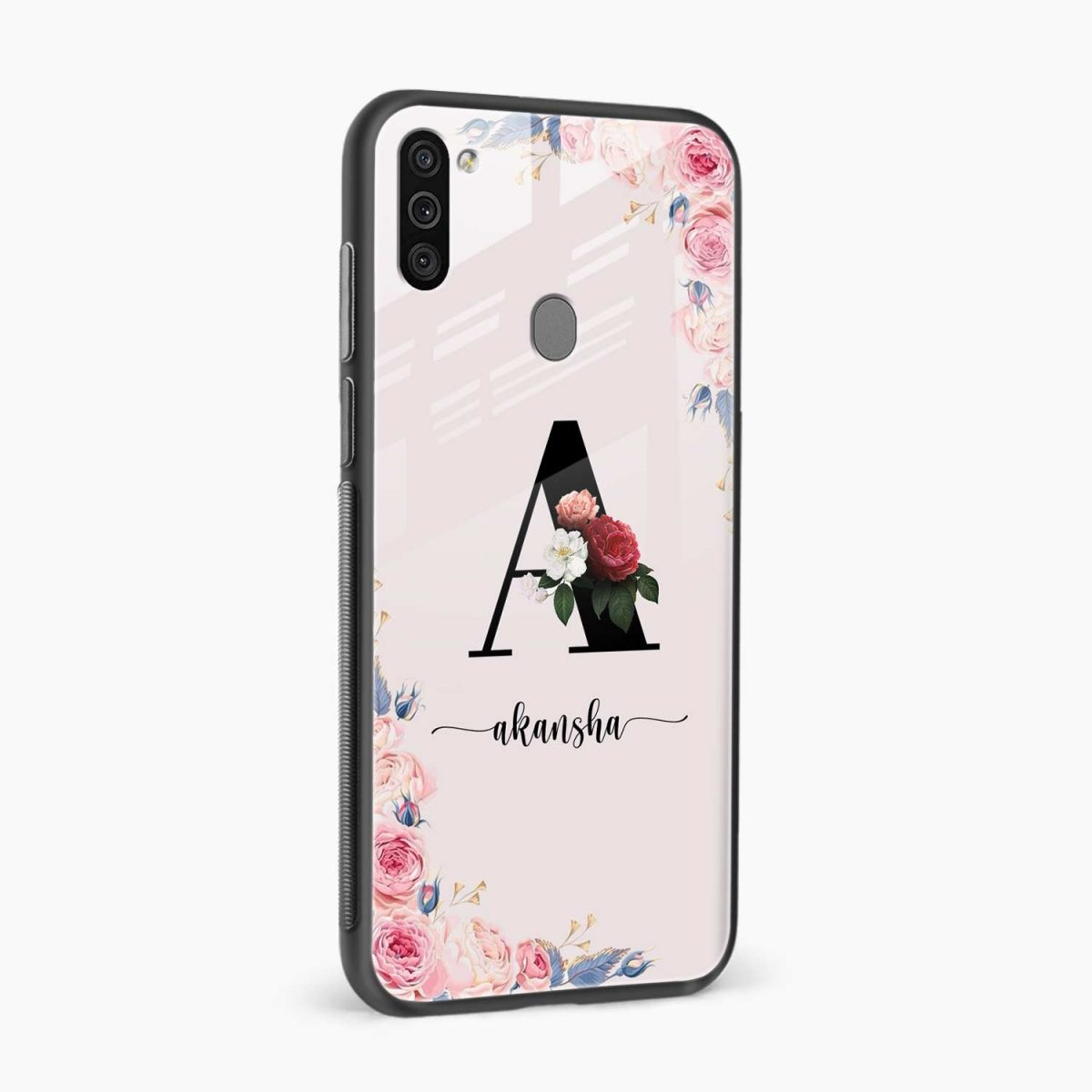 floral name personalised side view samsung galaxy m11 back cover