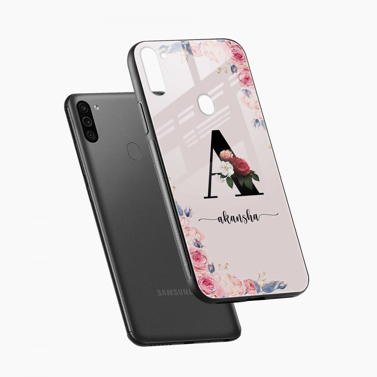 floral name personalised diagonal view samsung galaxy m11 back cover