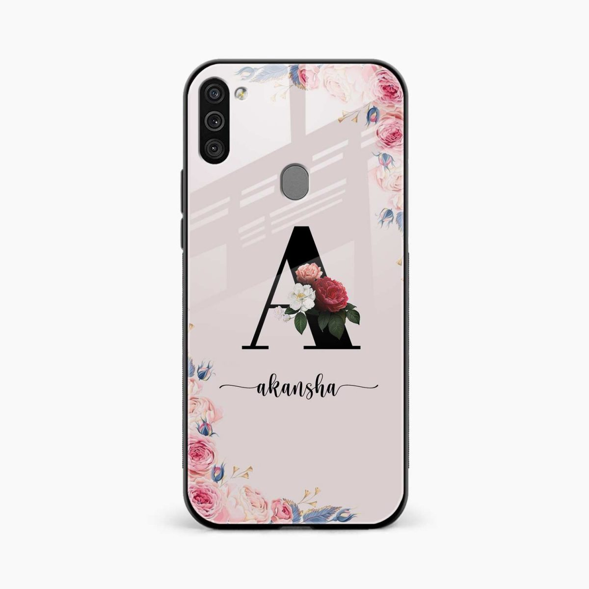 floral name personalised front view samsung galaxy m11 back cover