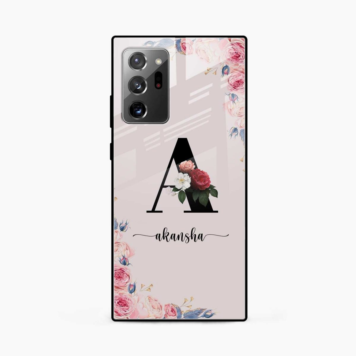 floral name personalised front view samsung galaxy note20 ultra back cover