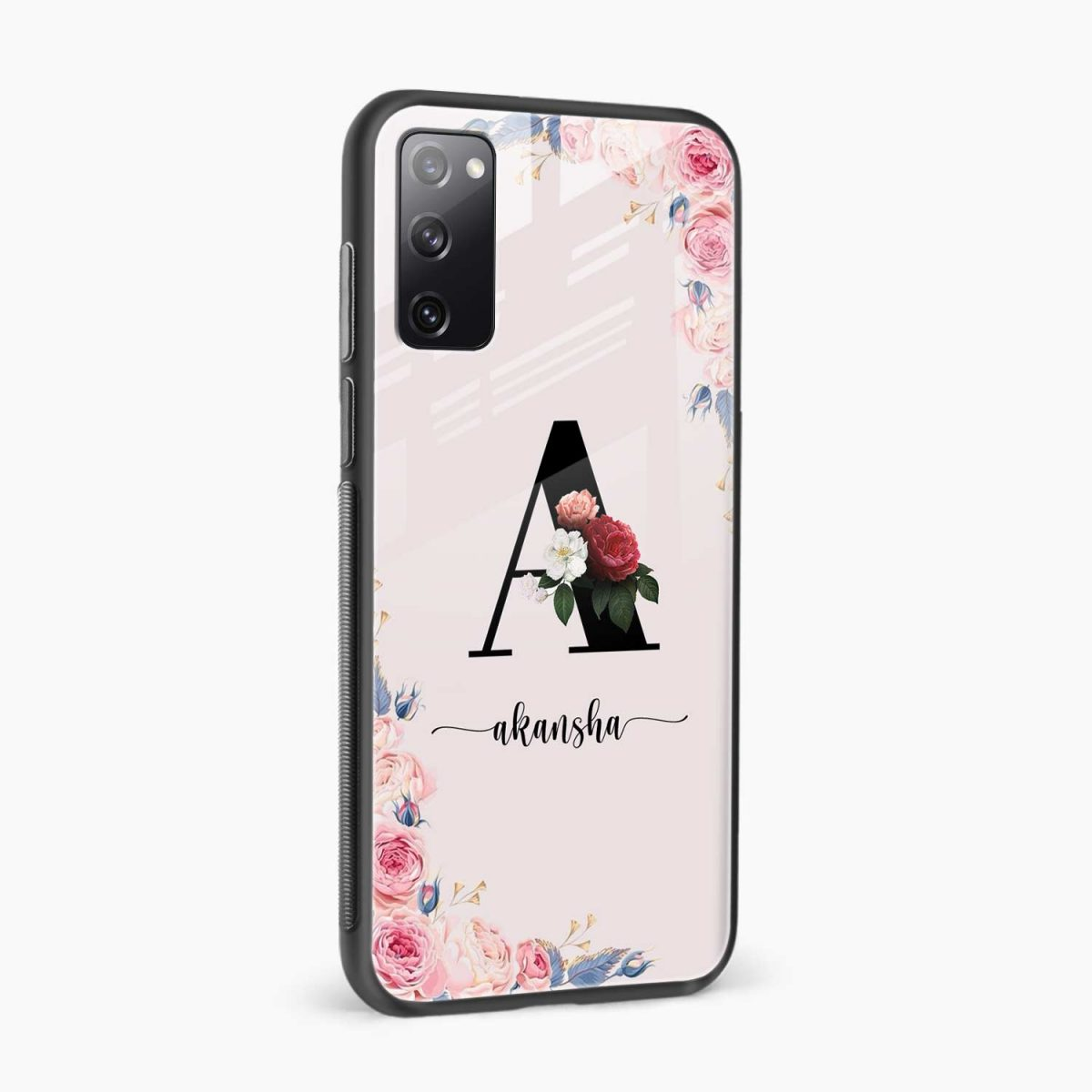 floral name personalised side view samsung galaxy s20 fe back cover