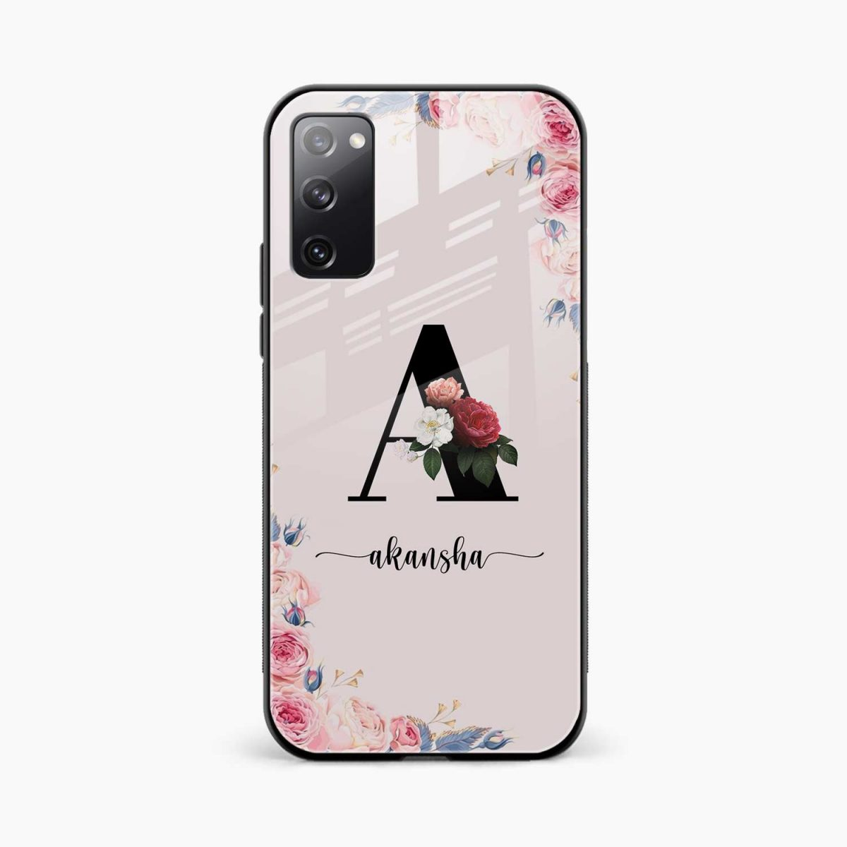 floral name personalised front view samsung galaxy s20 fe back cover