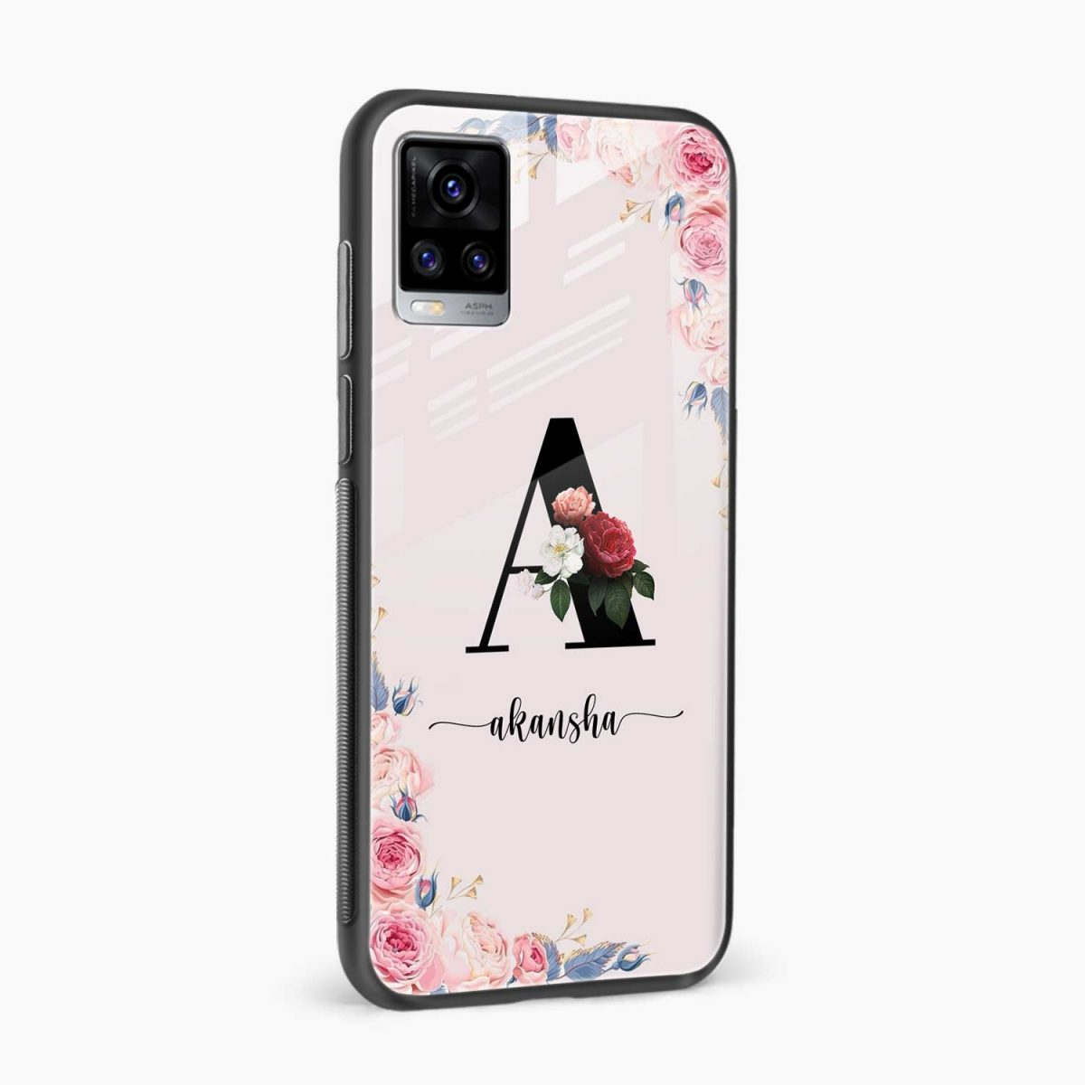 floral name personalised side view vivo v20 back cover