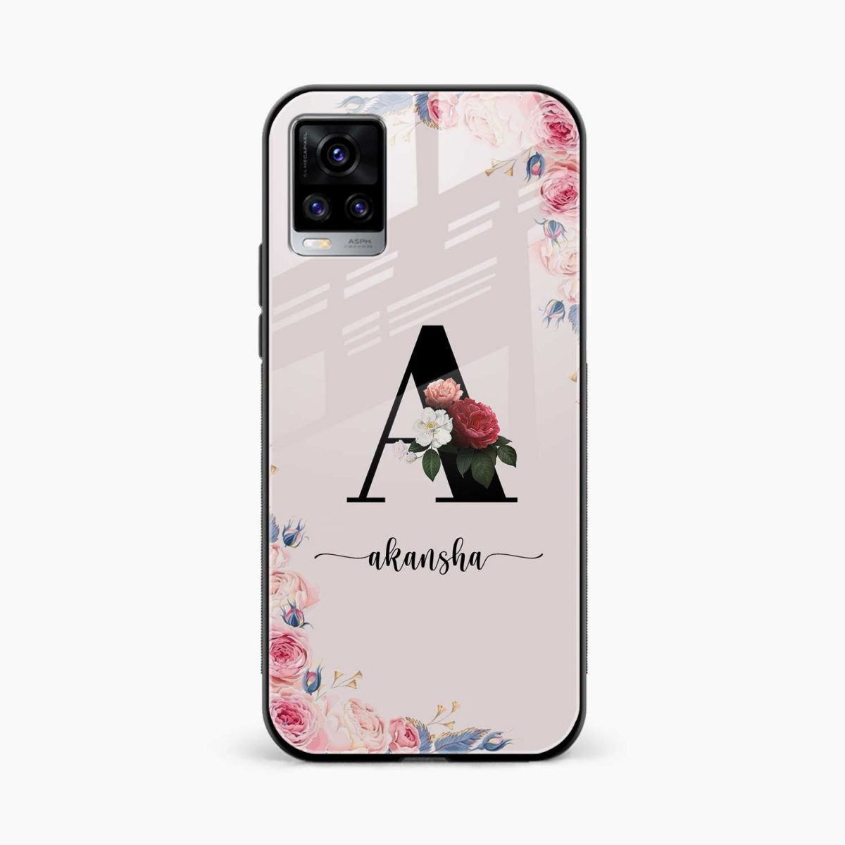 floral name personalised front view vivo v20 back cover