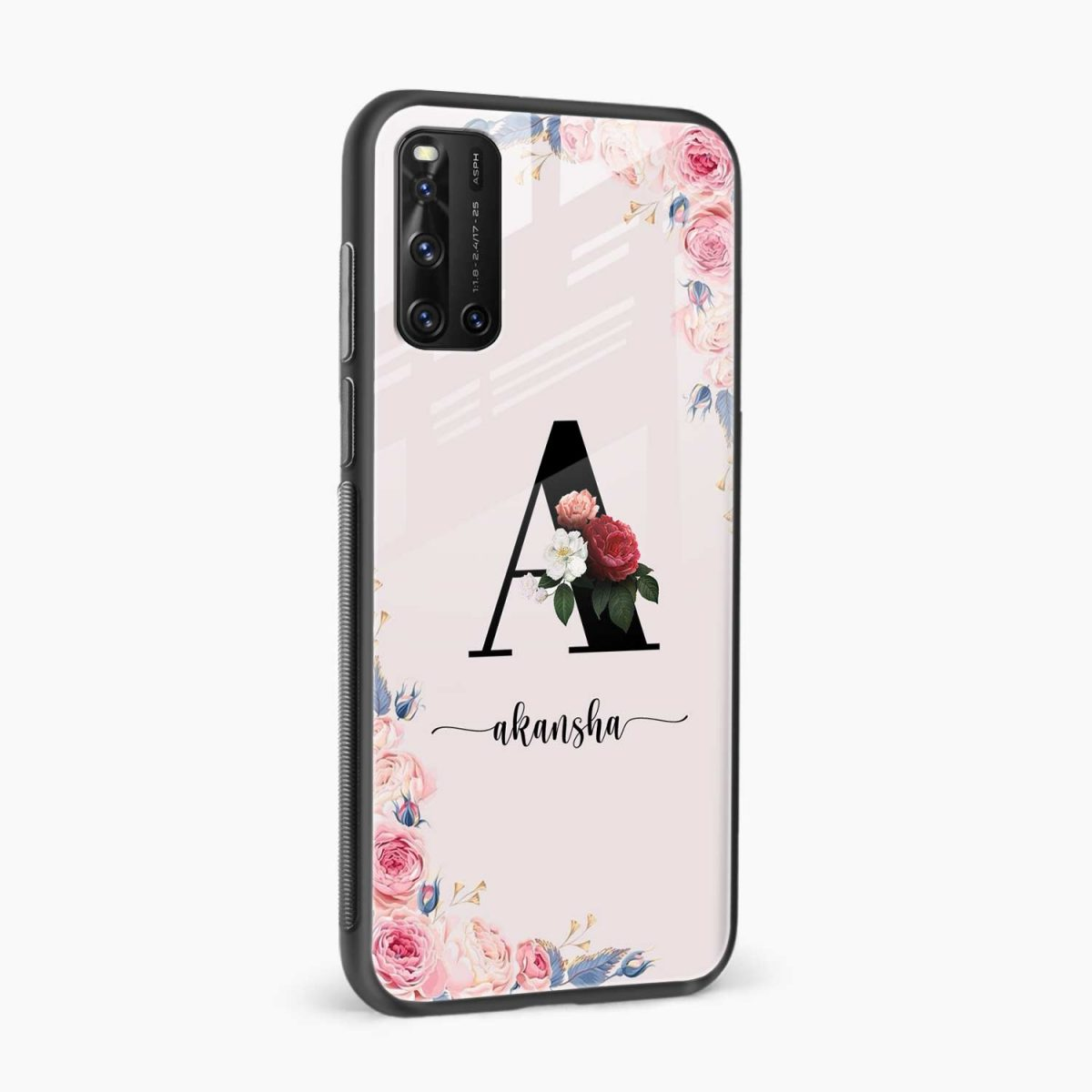 floral name personalised side view vivo v19 back cover