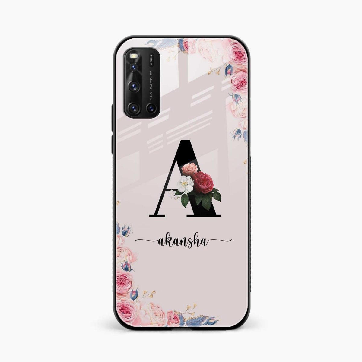 floral name personalised front view vivo v19 back cover
