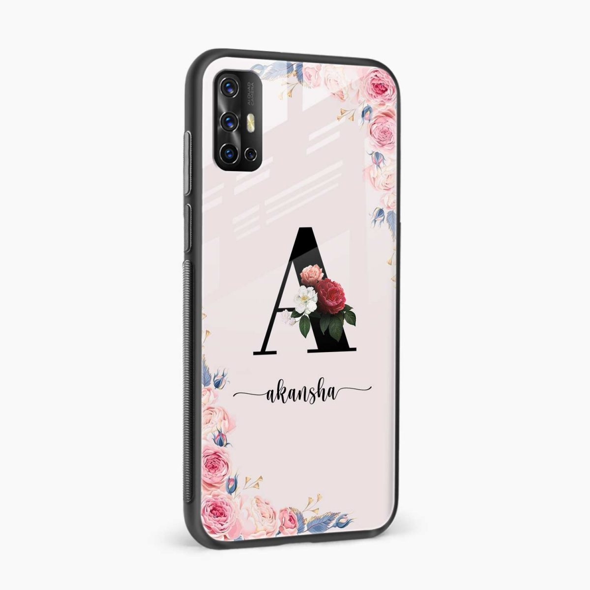 floral name personalised side view vivo v17 back cove
