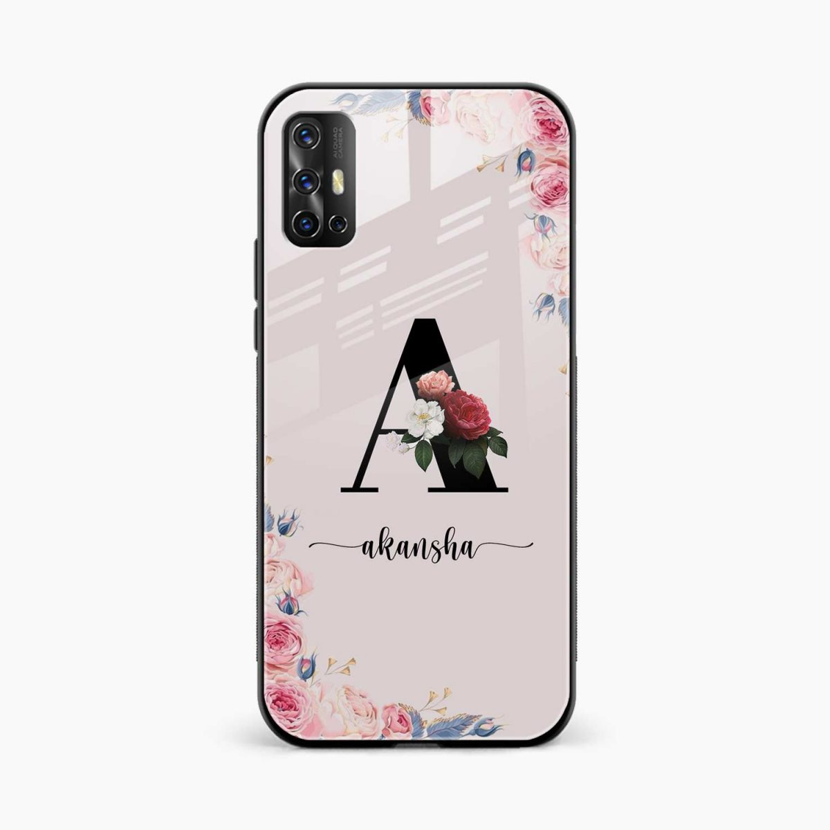 floral name personalised front view vivo v17 back cover