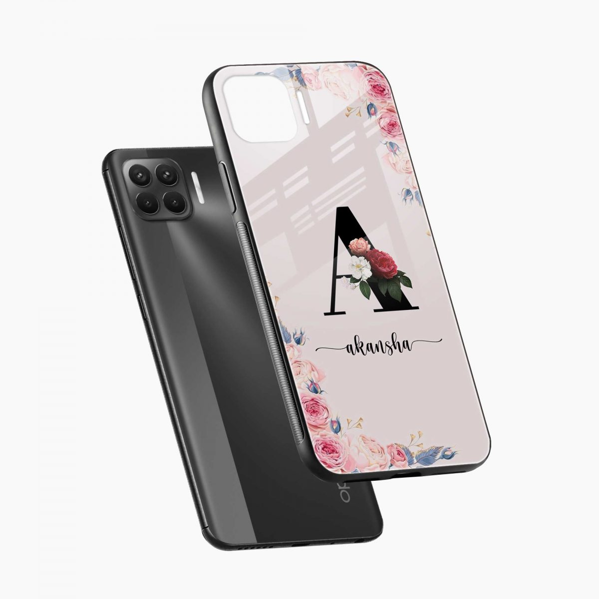 floral name personalised diagonal view oppo f17 pro back cove