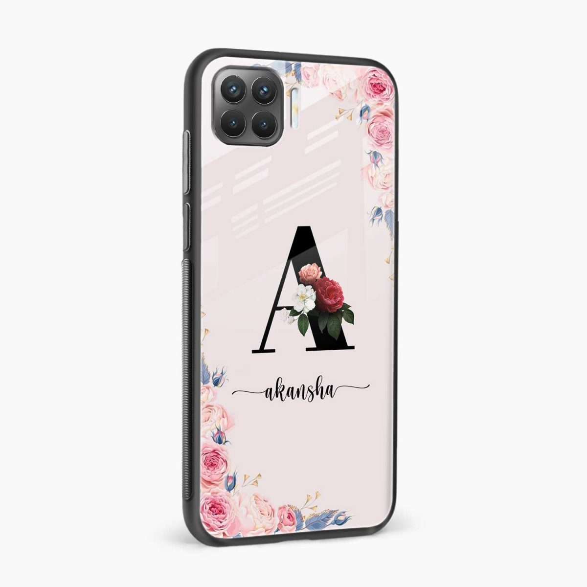 floral name personalised side view oppo f17 pro back cove