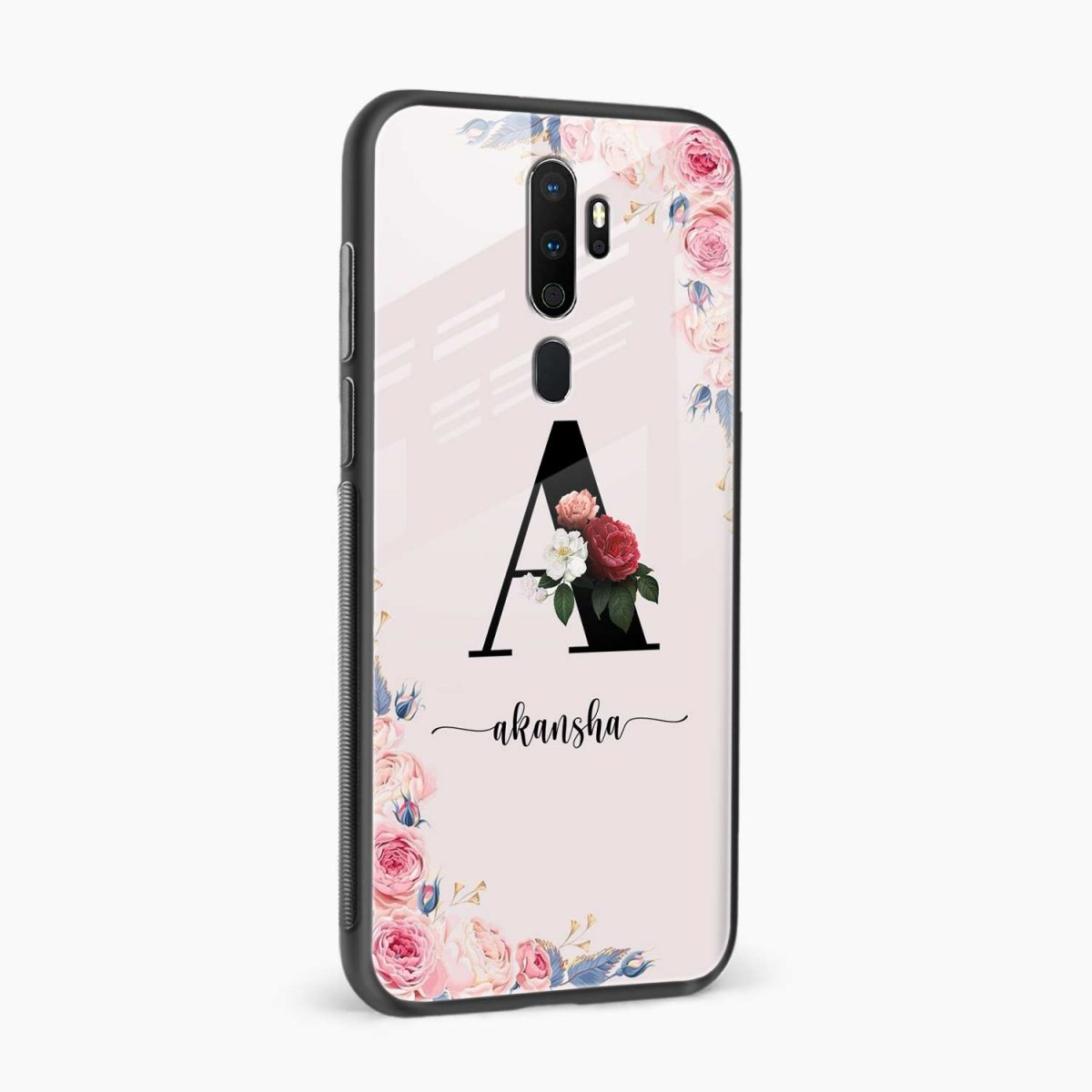 floral name personalised side view oppo a5 back cover