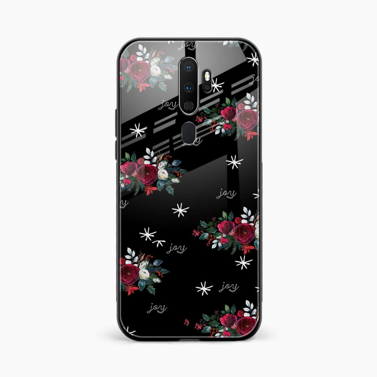 joy floral black colored front view oppo a5 back cover