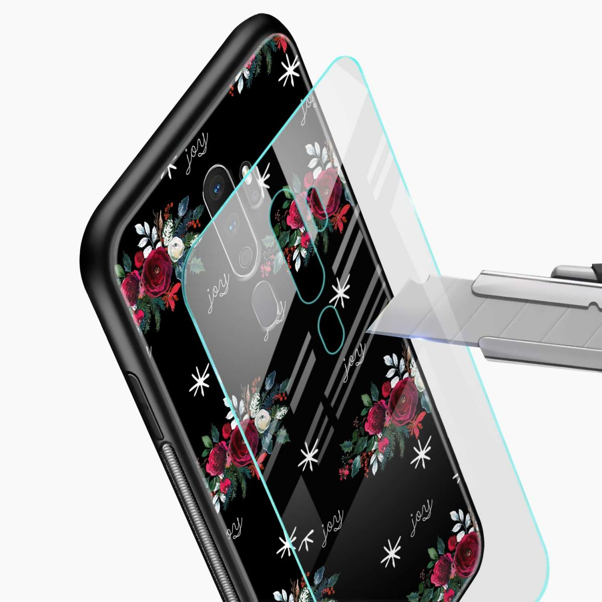 joy floral black colored glass view oppo a5 back cover