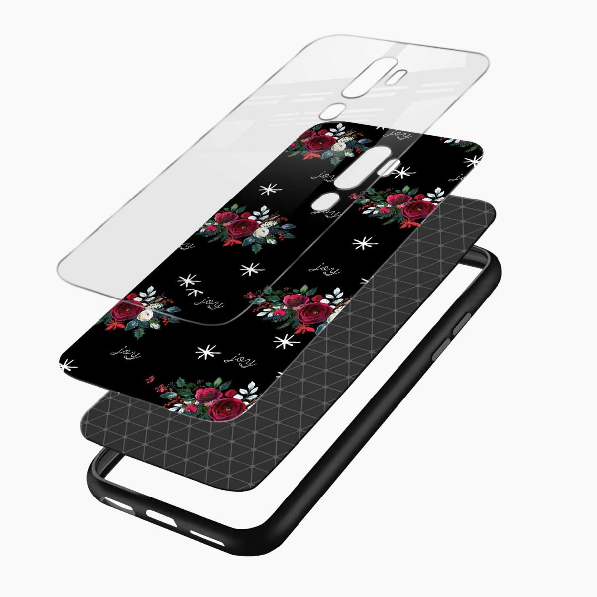 joy floral black colored layers view oppo a5 back cover