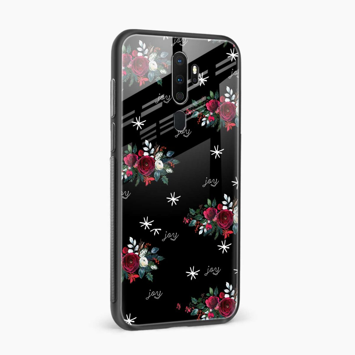 joy floral black colored side view oppo a5 back cover