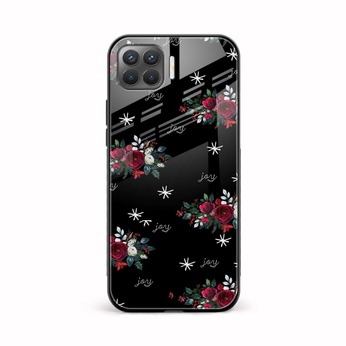 joy floral black colored front view oppo f17 pro back cover
