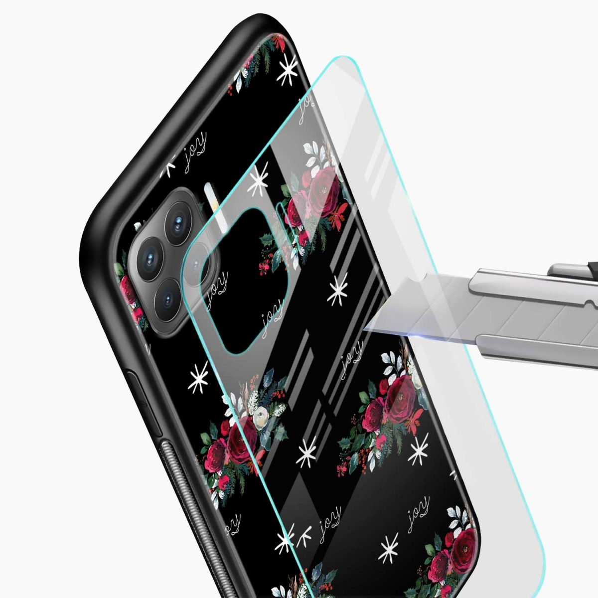 joy floral black colored glass view oppo f17 pro back cove