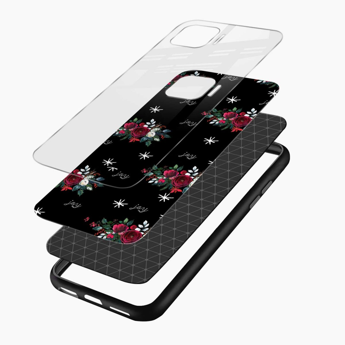 joy floral black colored layers view oppo f17 pro back cove