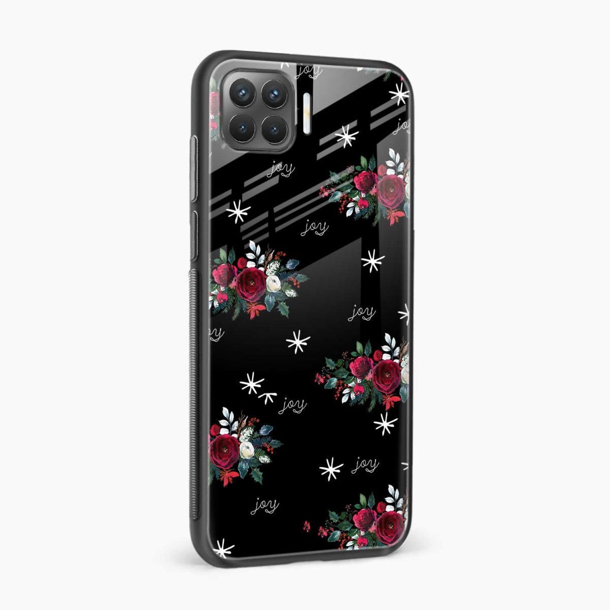 joy floral black colored side view oppo f17 pro back cove