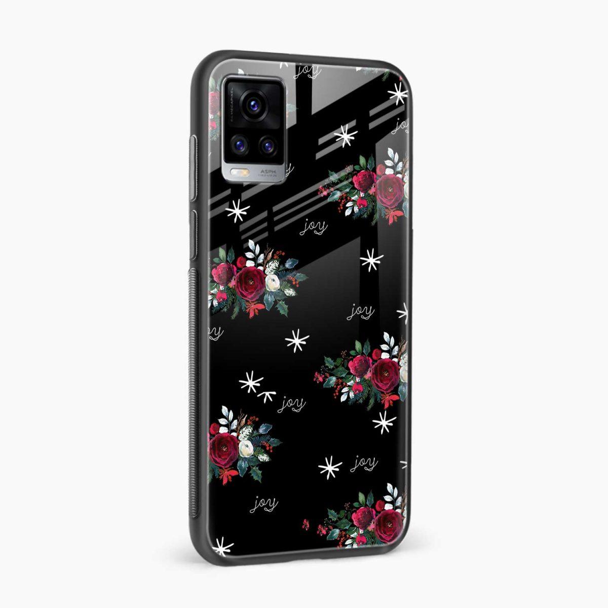 joy floral black colored side view vivo v20 back cover