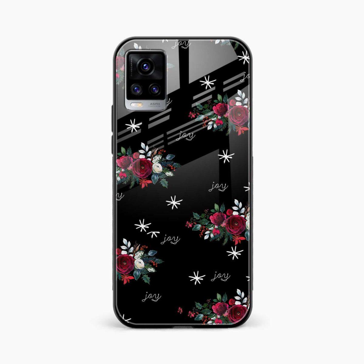 joy floral black colored front view vivo v20 back cover