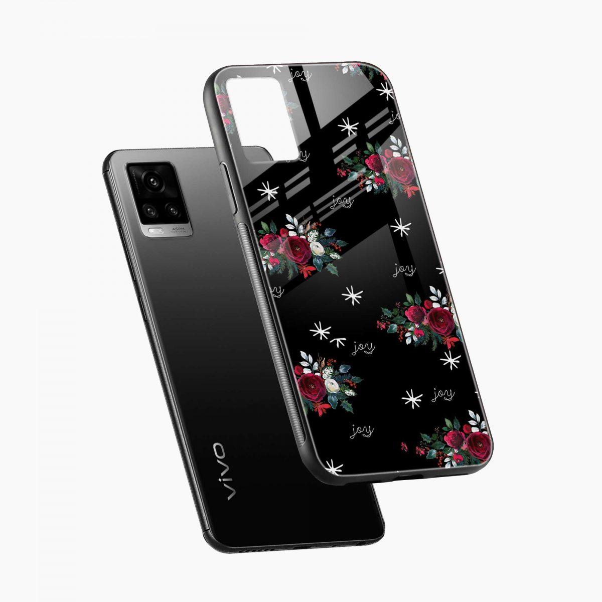joy floral black colored diagonal view vivo v20 back cover