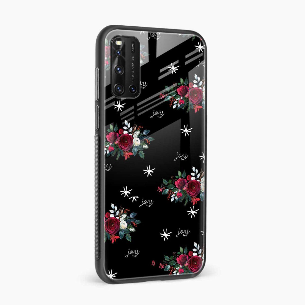 joy floral black colored side view vivo v19 back cover