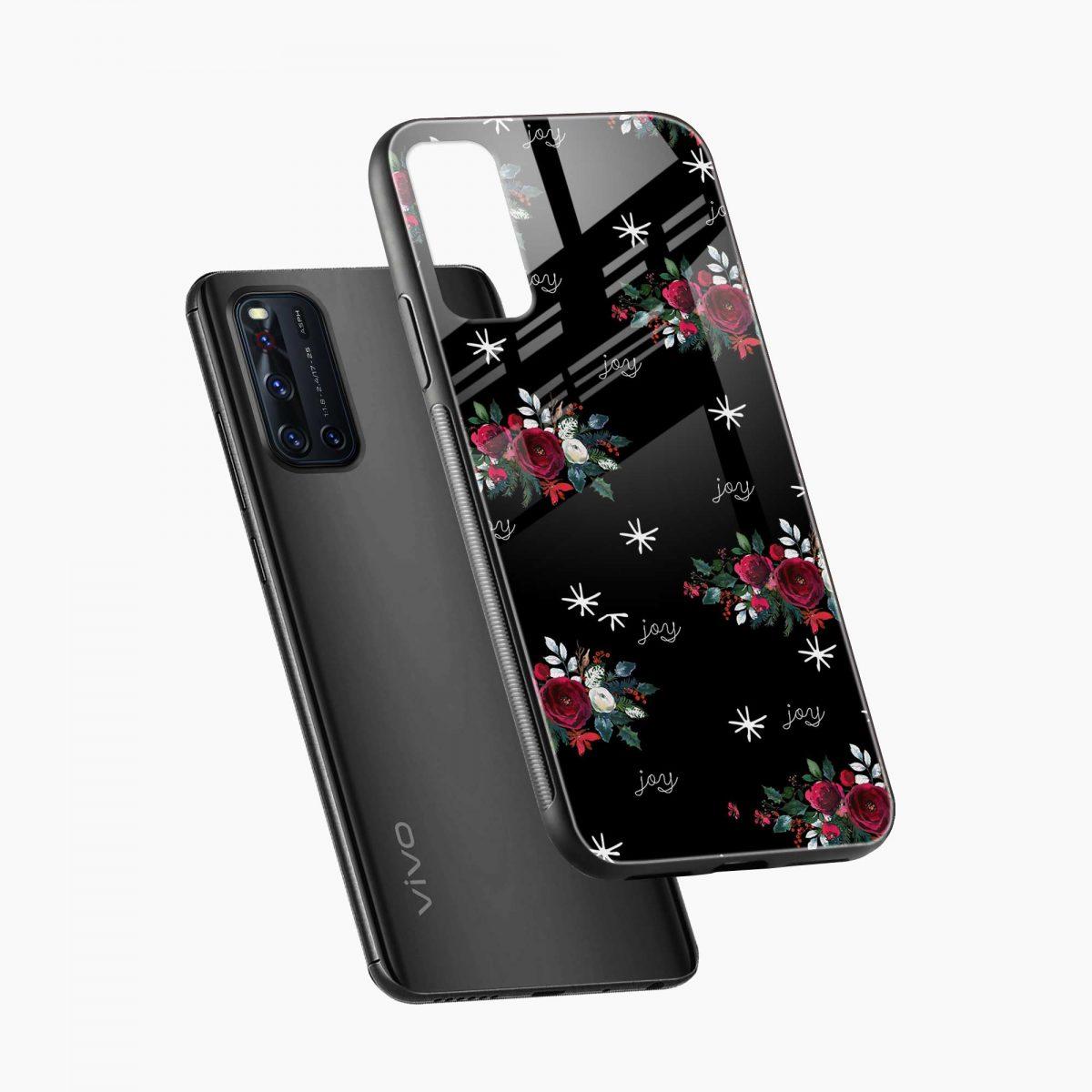 joy floral black colored diagonal view vivo v19 back cover