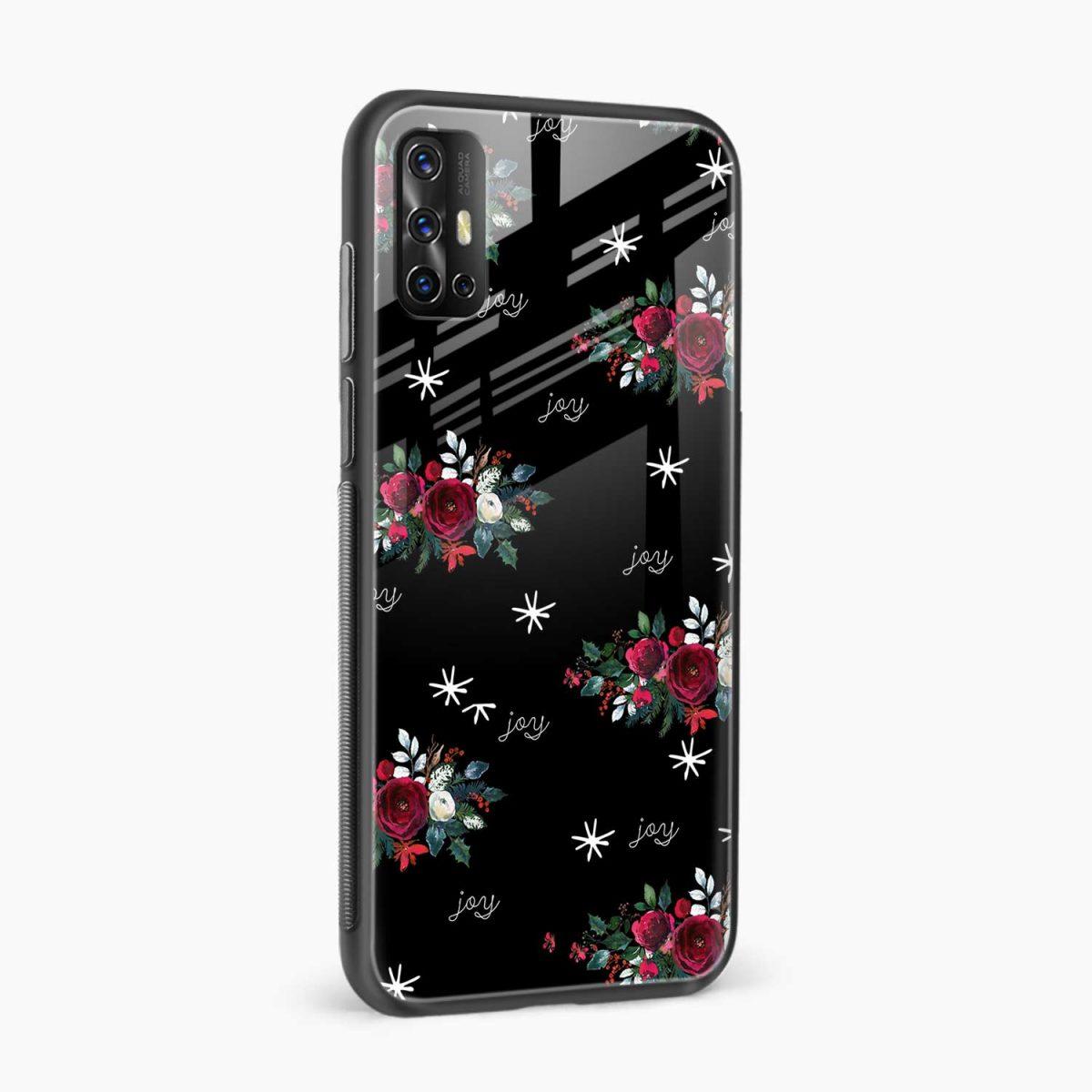 joy floral black colored side view vivo v17 back cove