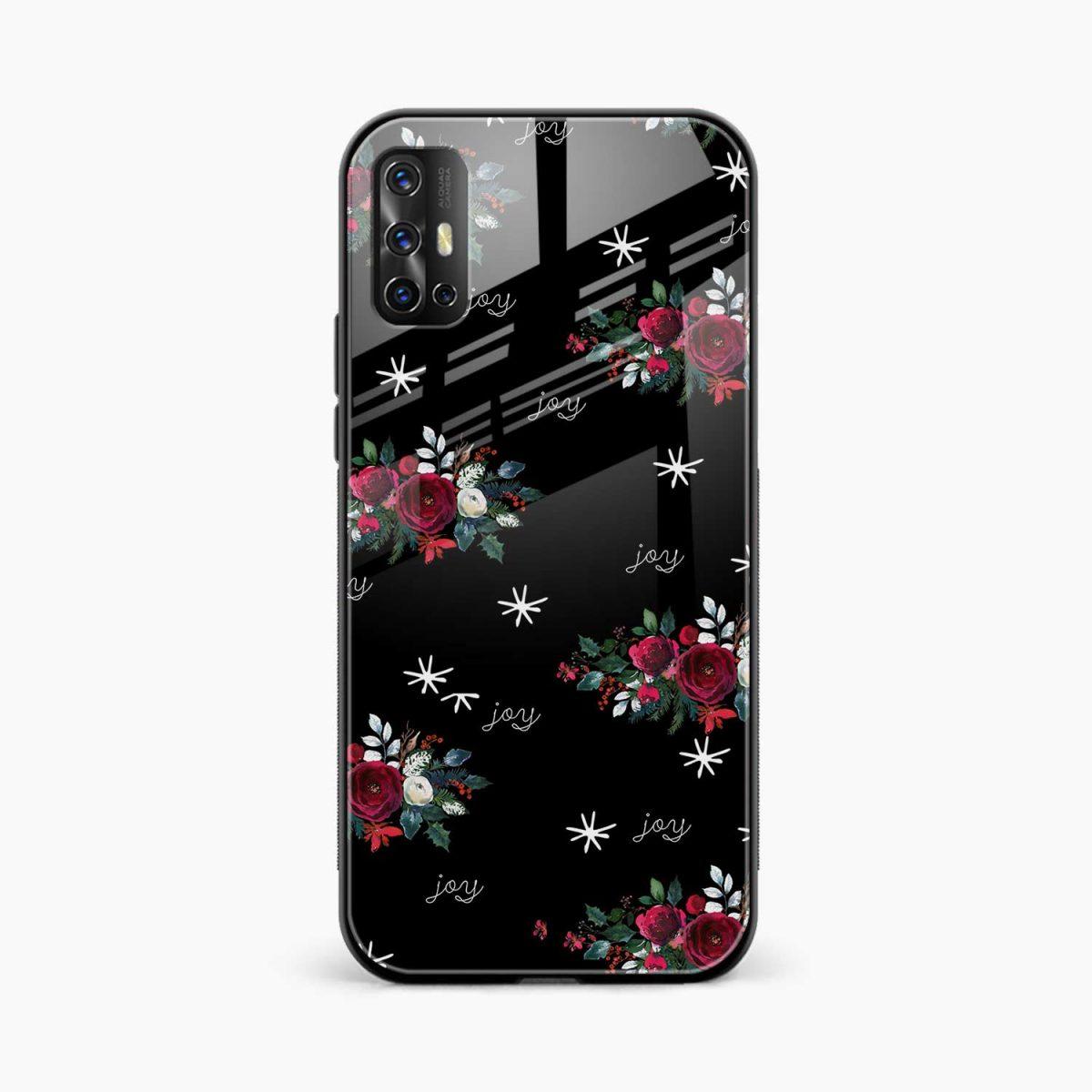 joy floral black colored front view vivo v17 back cover