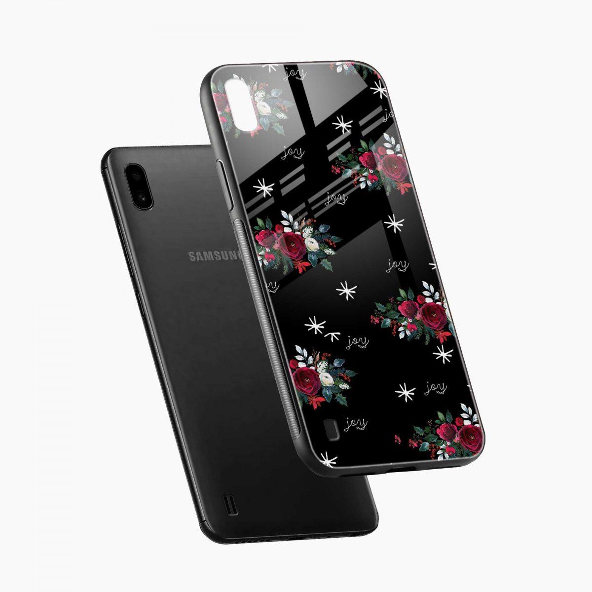 joy floral black colored diagonal view samsung galaxy a10 back cover