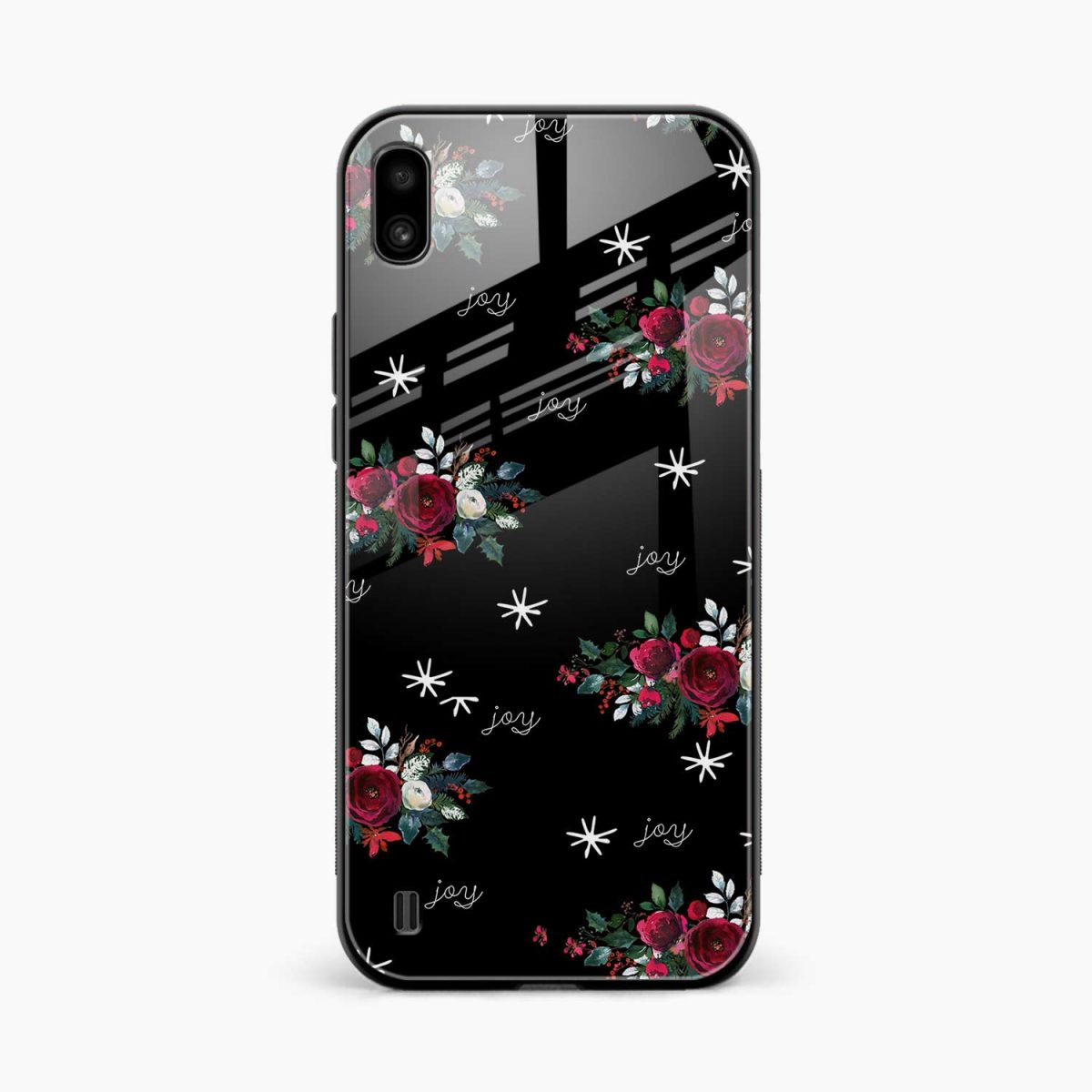 joy floral black colored front view samsung galaxy a10 back cover