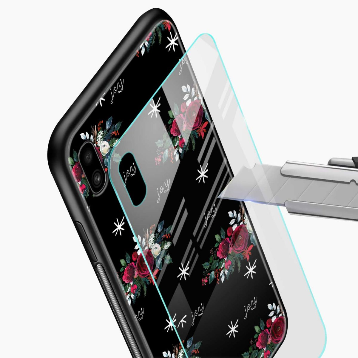 joy floral black colored glass view samsung galaxy a10 back cover