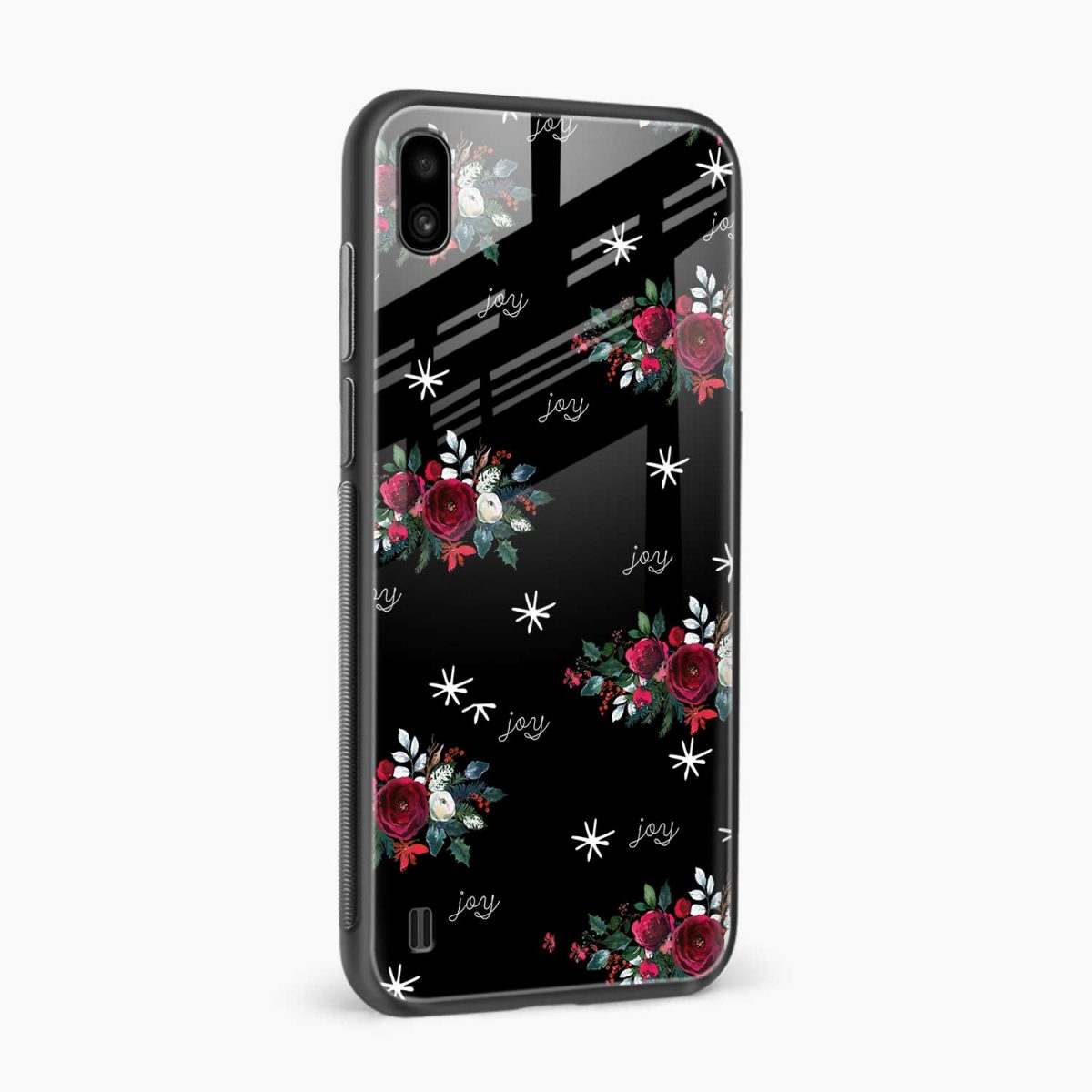 joy floral black colored side view samsung galaxy a10 back cover