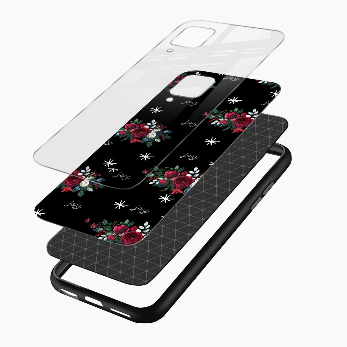 joy floral black colored layers view samsung galaxy a12 back cover