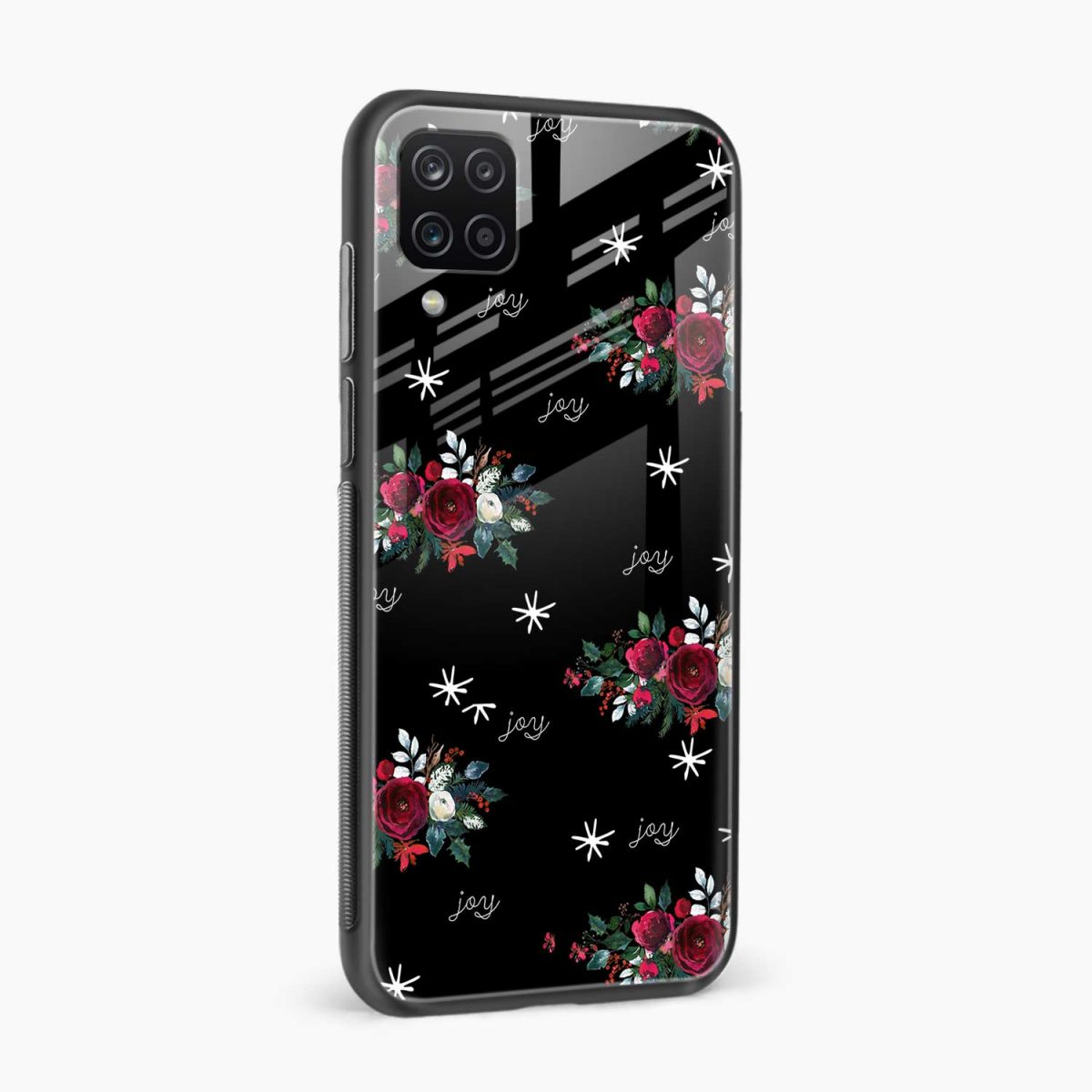 joy floral black colored side view samsung galaxy a12 back cover