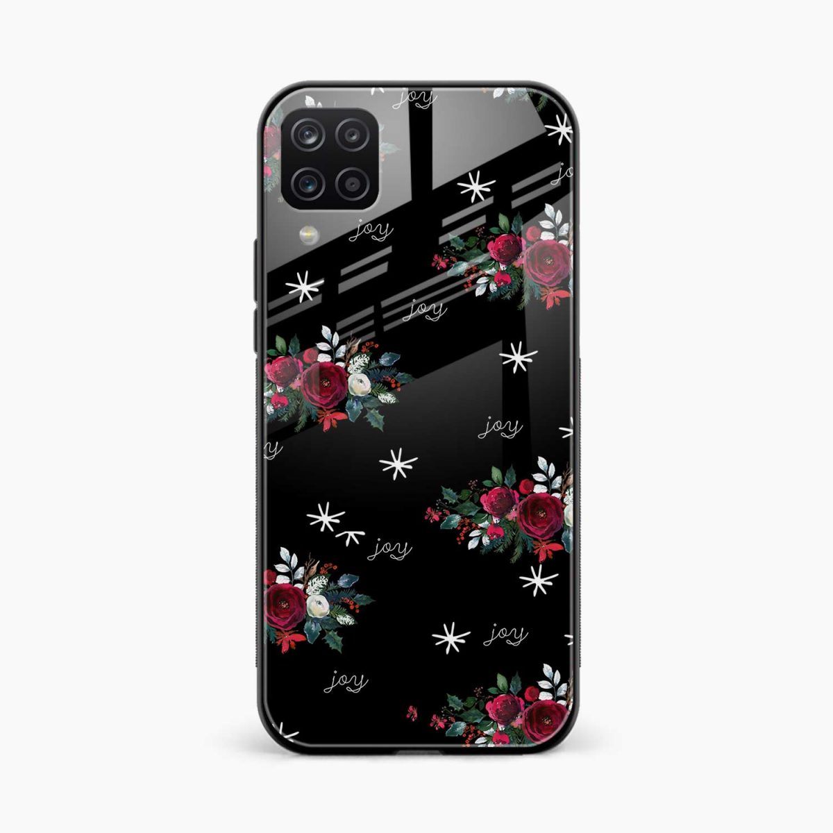 joy floral black colored front view samsung galaxy a12 back cover