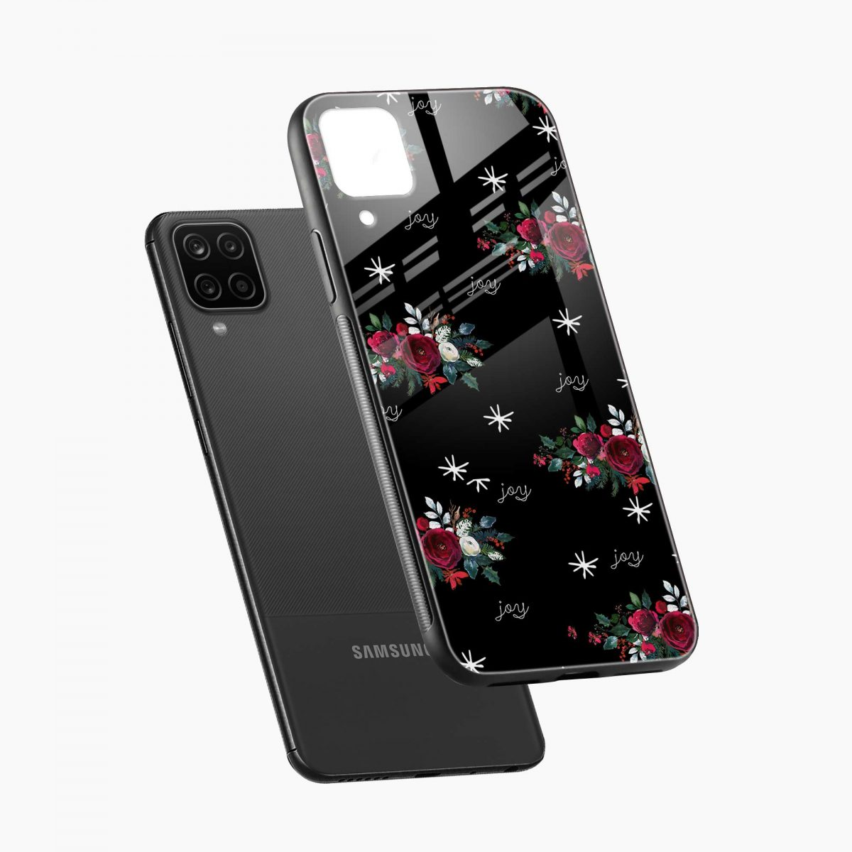 joy floral black colored diagonal view samsung galaxy a12 back cover