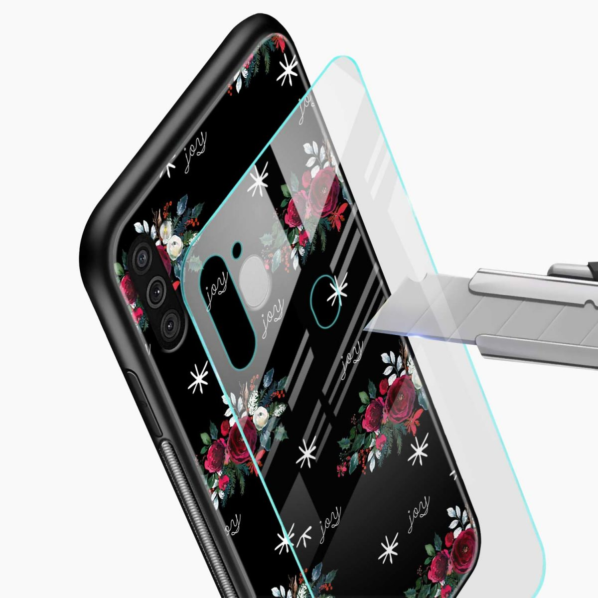 joy floral black colored glass view samsung galaxy m11 back cover