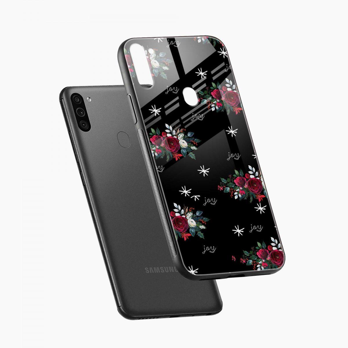 joy floral black colored diagonal view samsung galaxy m11 back cover