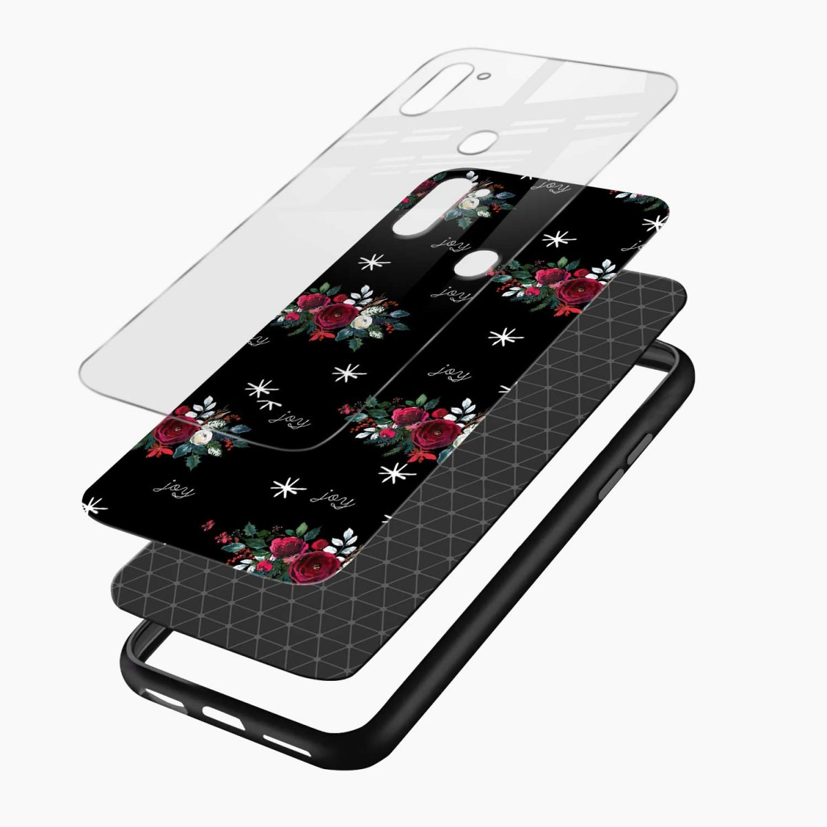 joy floral black colored layers view samsung galaxy m11 back cover