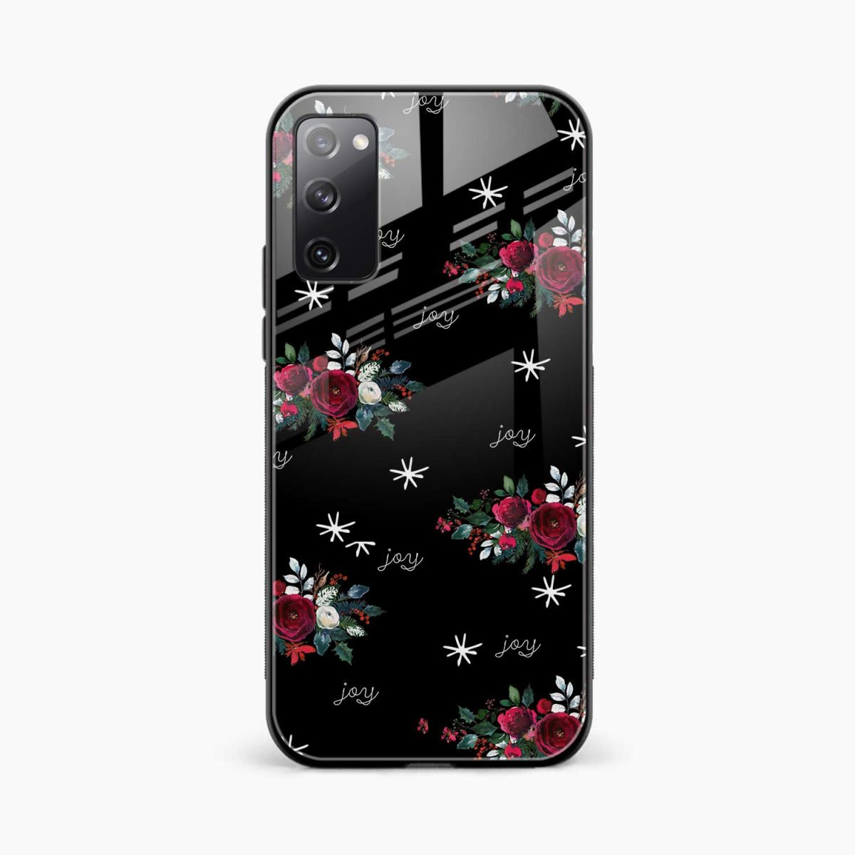 joy floral black colored front view samsung galaxy s20 fe back cover