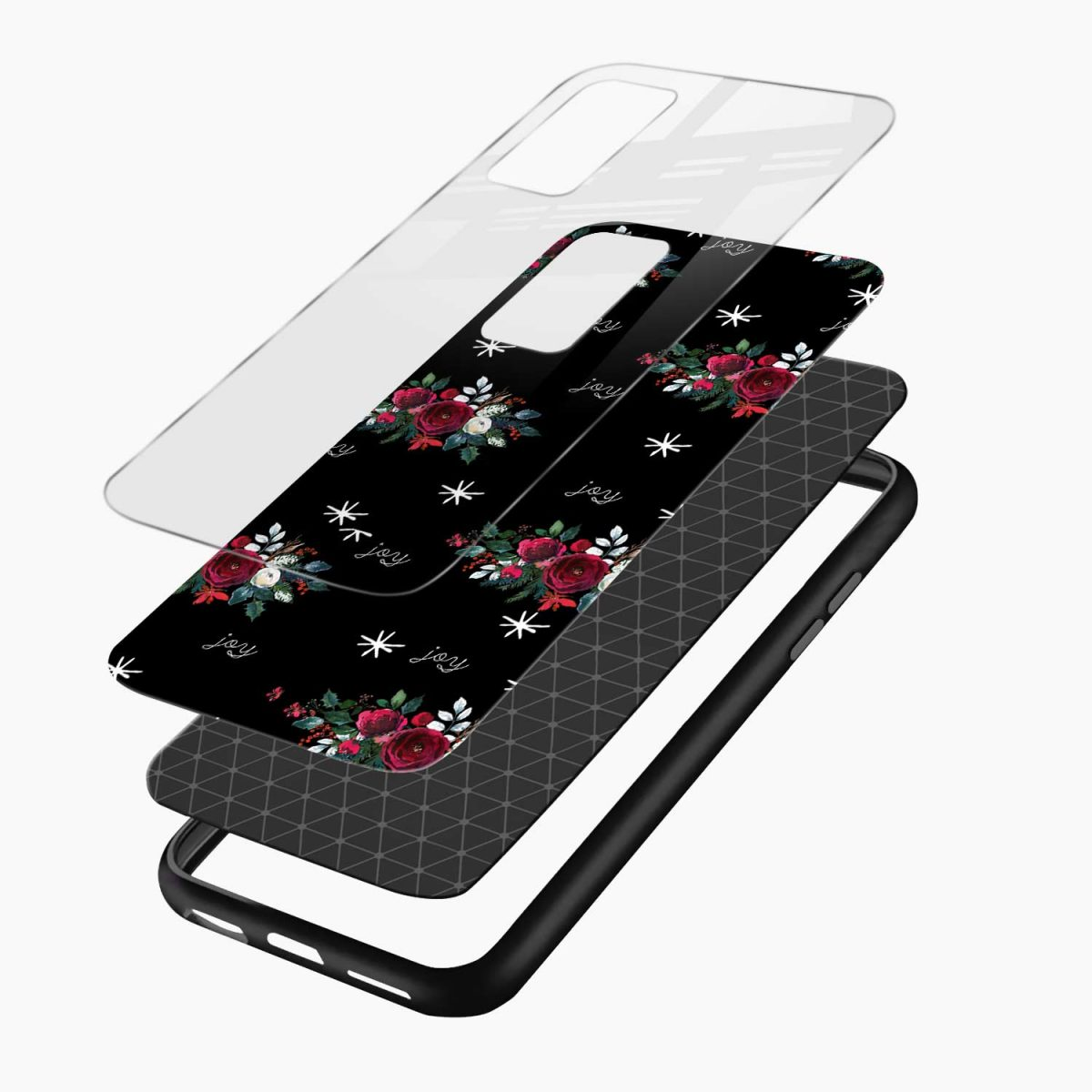joy floral black colored layers view samsung galaxy note20 ultra back cover