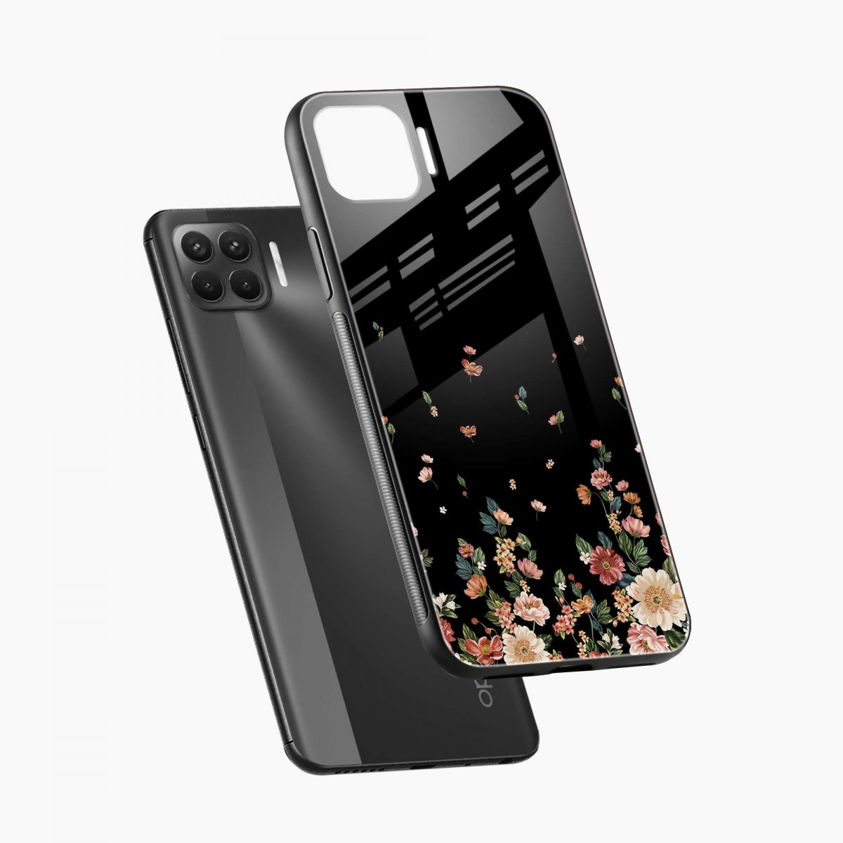graceful floral black colored diagonal view oppo f17 pro back cove
