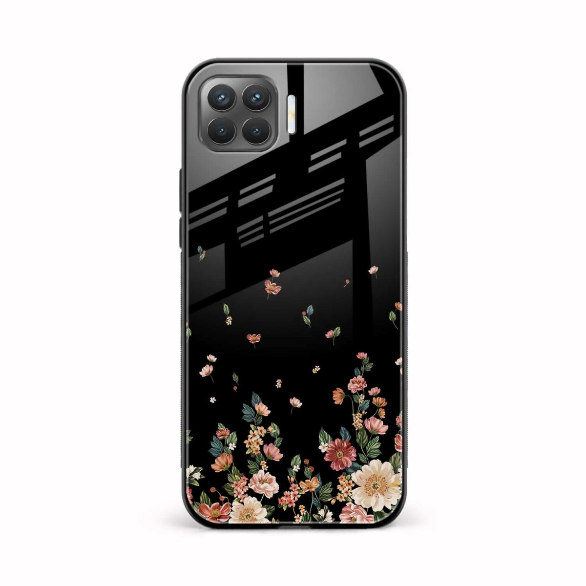 graceful floral black colored front view oppo f17 pro back cover