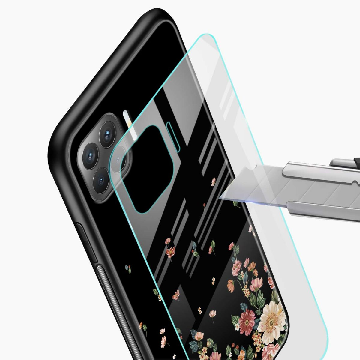 graceful floral black colored glass view oppo f17 pro back cove