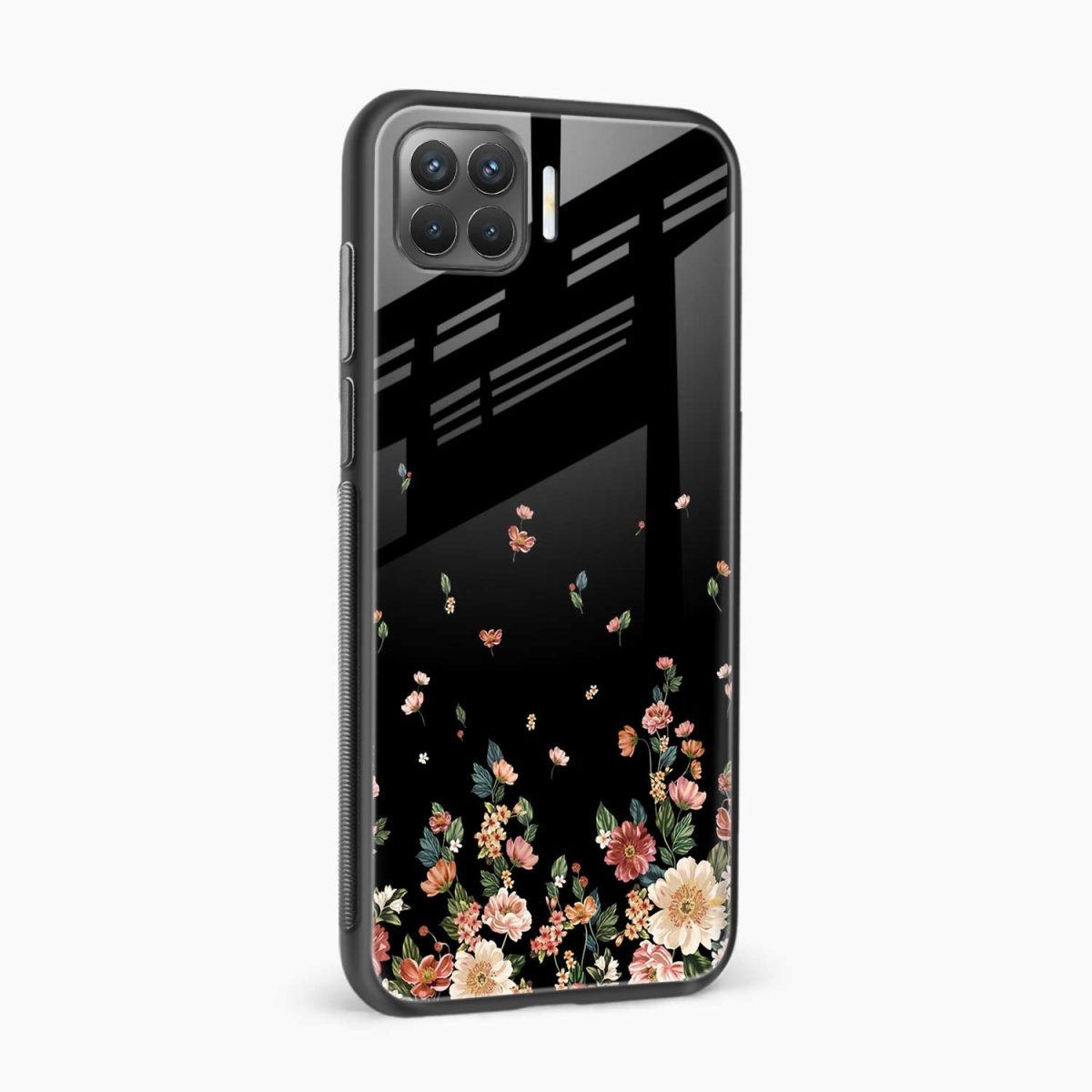 graceful floral black colored side view oppo f17 pro back cove